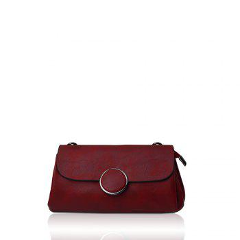 A simple small circle buckle diagonal single shoulder bag hand bag with rectangle - RED RED