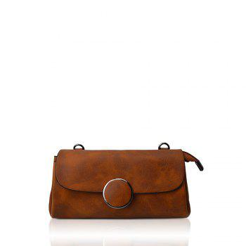 A simple small circle buckle diagonal single shoulder bag hand bag with rectangle - BROWN D STYLE BROWN D STYLE