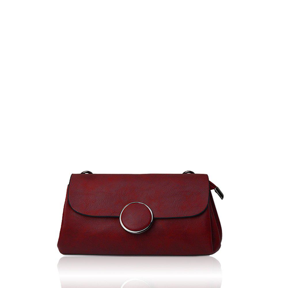 A simple small circle buckle diagonal single shoulder bag hand bag with rectangle - RED