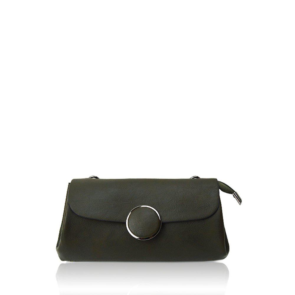 A simple small circle buckle diagonal single shoulder bag hand bag with rectangle - GREEN