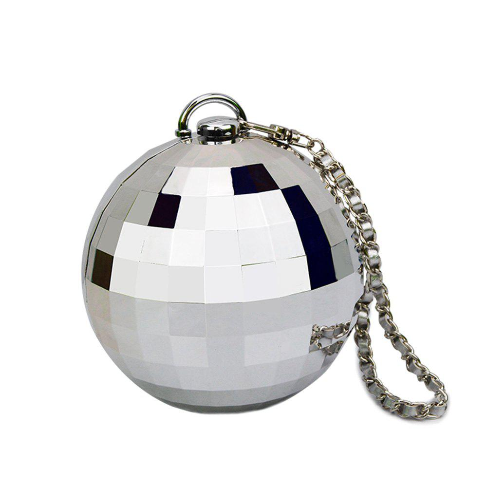 Flow style portable ball bag ladies handbag plating small round Dinner Bag - SILVER