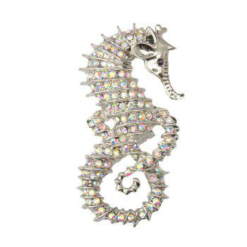 Cute Seahorse Brooches Fashion Silver-Color Animal Full Rhinestone Brooches Austrian Crystal Brooch Pin for Women Gifts - SILVER SILVER