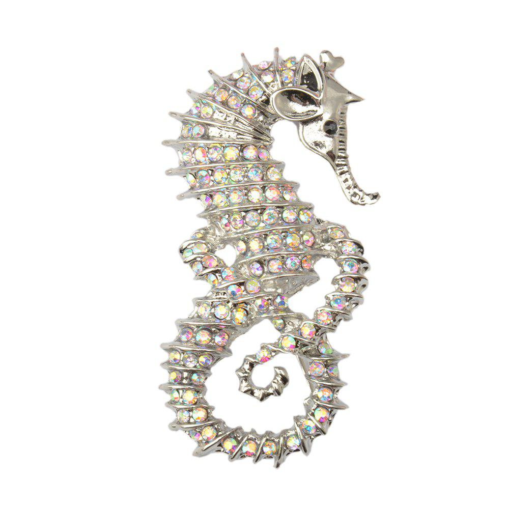 Cute Seahorse Brooches Fashion Silver-Color Animal Full Rhinestone Brooches Austrian Crystal Brooch Pin for Women Gifts - SILVER