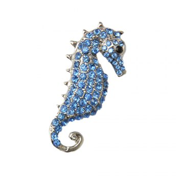 Rhinestone Crystals Animal Seahorse Sea Horse Brooches Pin for Woman - BLUE BLUE
