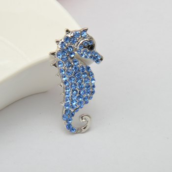 Rhinestone Crystals Animal Seahorse Sea Horse Brooches Pin for Woman -  BLUE