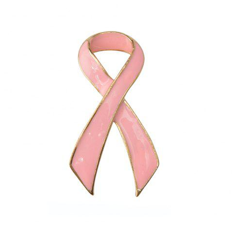 Pink Ribbon Brooch Fashion Jewelry for Women - GOLD/PINK