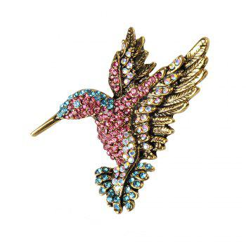 Colorful Rhinestone Hummingbird Brooch Animal Brooches for Women - COLORFUL COLORFUL