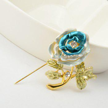 Rose Flower Brooch Garment Accessories Wedding Bridal Jewelry Crystal Brooches for Men and Women - BLUE