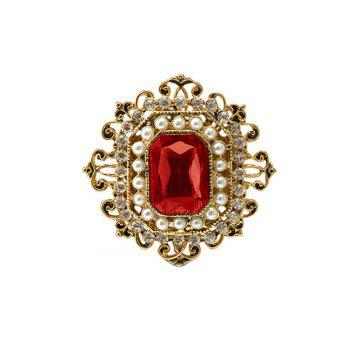 Vintage Brooches Pin with Large CZ Stone Pendent waterdrop Rhinestone Unique Red jewelry Green jewelry 4 colors - RED RED