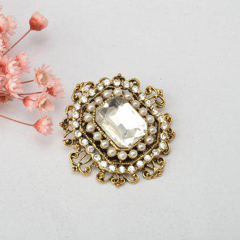 Vintage Brooches Pin with Large CZ Stone Pendent waterdrop Rhinestone Unique Red jewelry Green jewelry 4 colors - WHITE