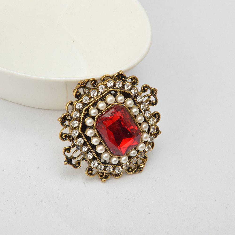 Vintage Brooches Pin with Large CZ Stone Pendent waterdrop Rhinestone Unique Red jewelry Green jewelry 4 colors - RED