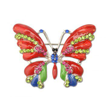Vintage Jewelry Large Enamel Butterfly Brooches Brooch Wedding Brooch Insect Hijab Pin Brooches For Women And Girl - RED RED