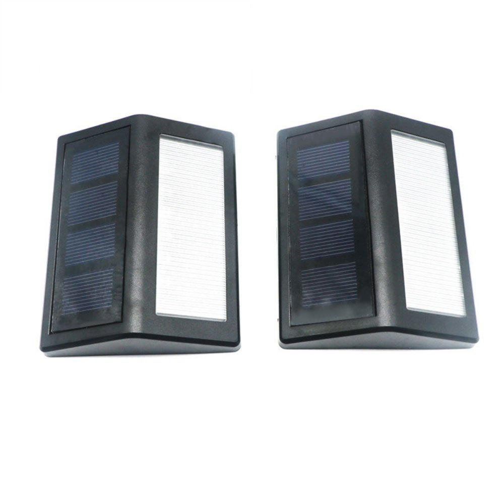 Atongm 2 Pcs Solar Powered PIR 12LEDs Wall Light - BLACK