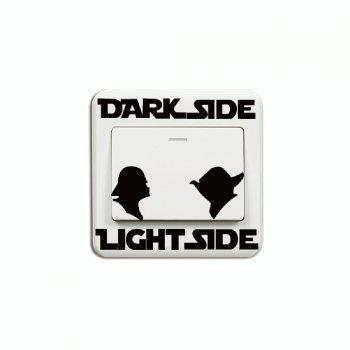 Switch Sticker Dark Side Light Side Cartoon Vinyl Wall Decal Home Decoration - BLACK BLACK