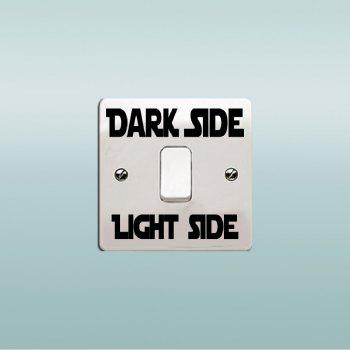 Dark Side Light Side Words Switch Sticker Cartoon Vinyl Wall Stickers Home Decor - BLACK 3.8 X 8 CM