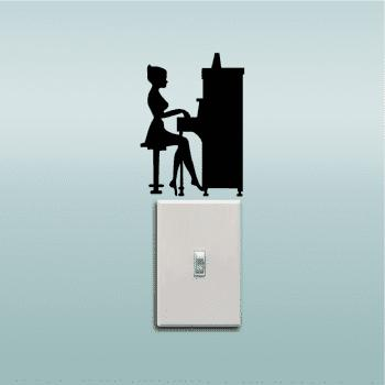 Girl Playing Piano Silhouette Light Switch Sticker Vinyl Music Decal Piano Wall Sticker - BLACK 14 X 10 CM