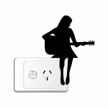 Girl Playing Guitar Silhouette Light Switch Sticker - BLACK BLACK