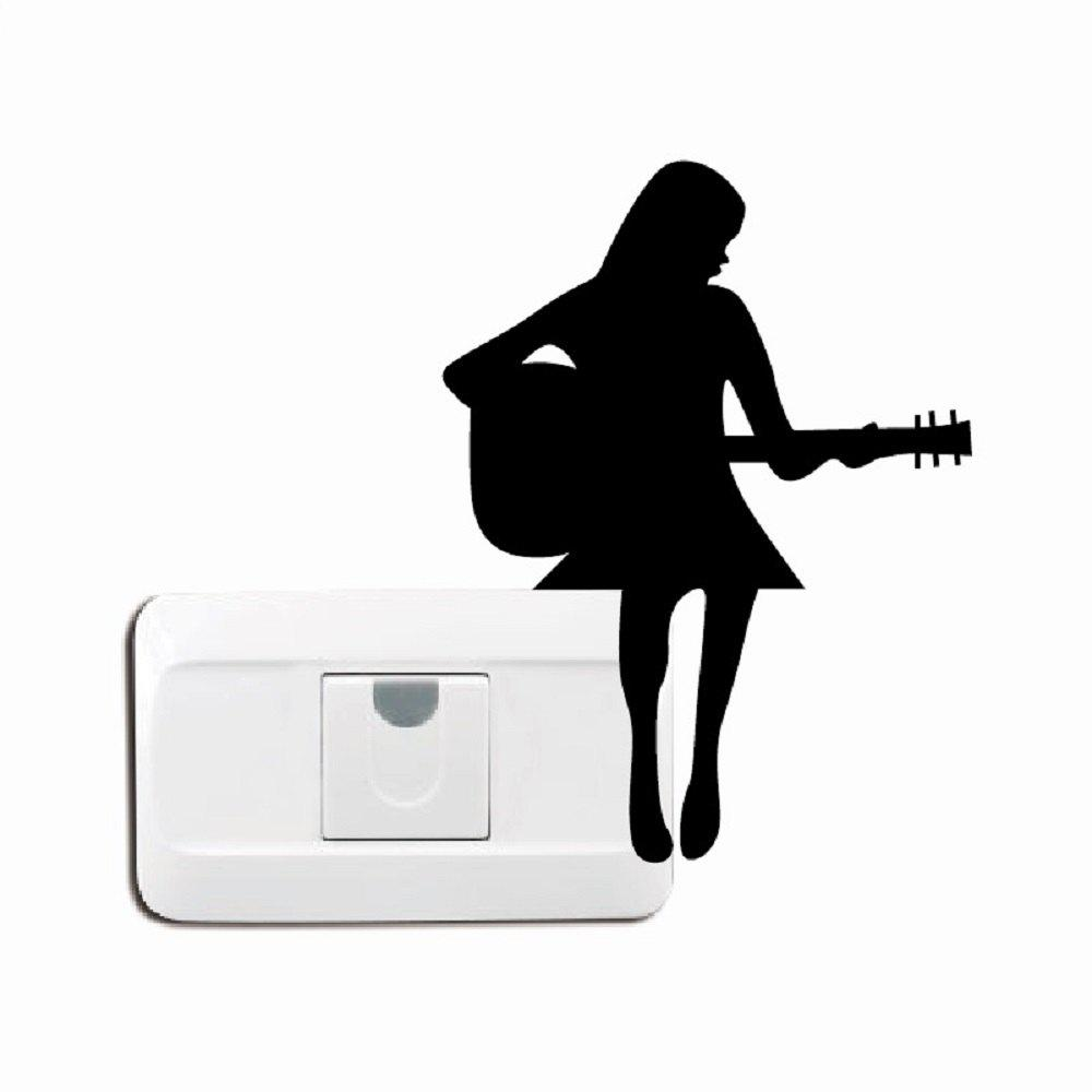 Girl Playing Guitar Silhouette Light Switch Sticker - BLACK 16.5 X 12.5 CM