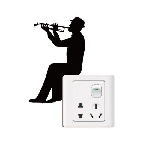 Music Silhouette Light Switch Sticker Trumpet Wall Decal - BLACK 13 X 8.5 CM