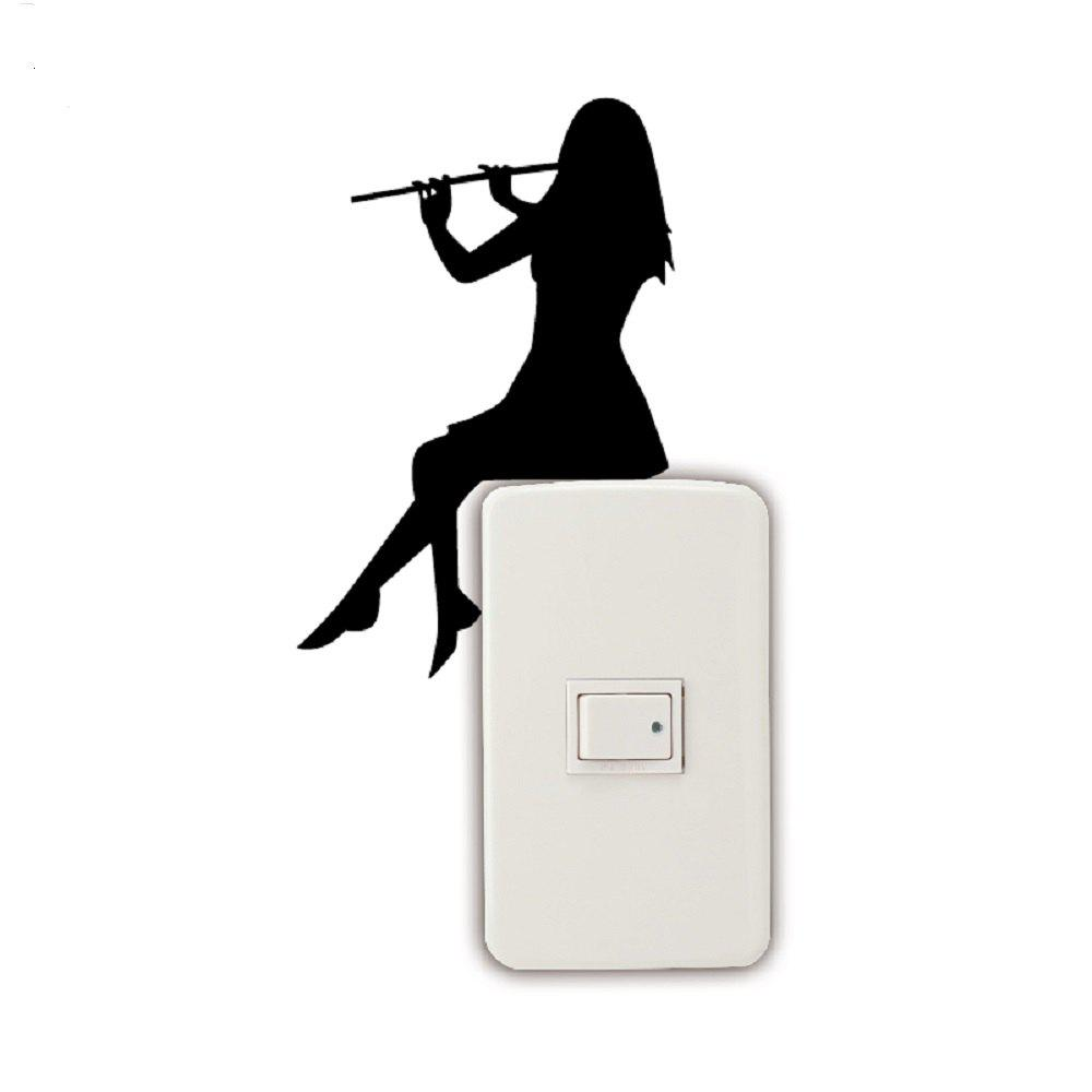 Girl Playing Flute Silhouette Light Switch Sticker Classical Music Wall Sticker Home Decor - BLACK 15 X 9.8 CM