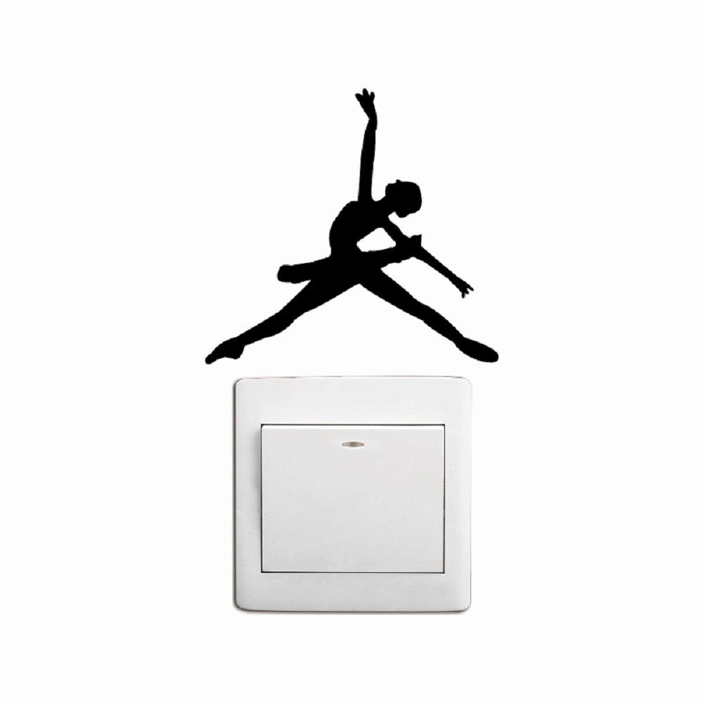 купить Ballet Dancer Dancing Silhouette Vinyl Switch Sticker Cartoon Ballet Wall Decor недорого