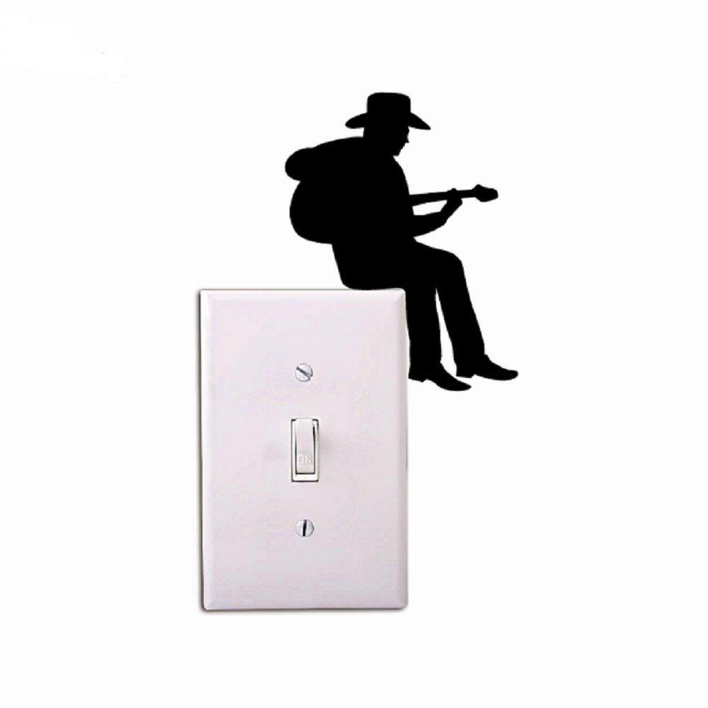 Cowboy Playing Guitar Silhouette Light Switch Sticker Cartoon Vinyl Music Wall Stickers Home Decor coconut cowboy