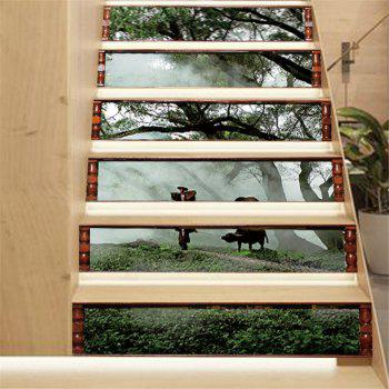 ZB19 Creative Corridor 3d Chinese Style Dawn Young Shepherd Decorative Wall Sticker Stairs Sticker - MIXCOLOR MIXCOLOR