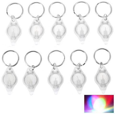 Mini LED Flash Light Keychain Ring Torch Super Bright Colorful Light 10PCS - WHITE