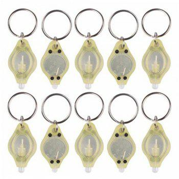Mini LED Flash Light Keychain Ring Torch Super Bright Colorful Light 10PCS -  YELLOW