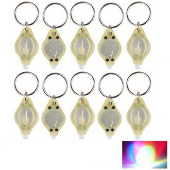 Mini LED Flash Light Keychain Ring Torch Super Bright Colorful Light 10PCS - YELLOW YELLOW