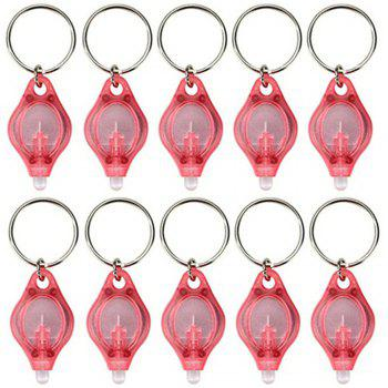 Mini LED Flash Light Keychain Ring Torch Super Bright Colorful Light 10PCS - RED