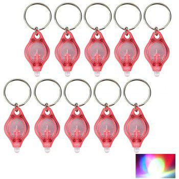 Mini LED Flash Light Keychain Ring Torch Super Bright Colorful Light 10PCS - RED RED