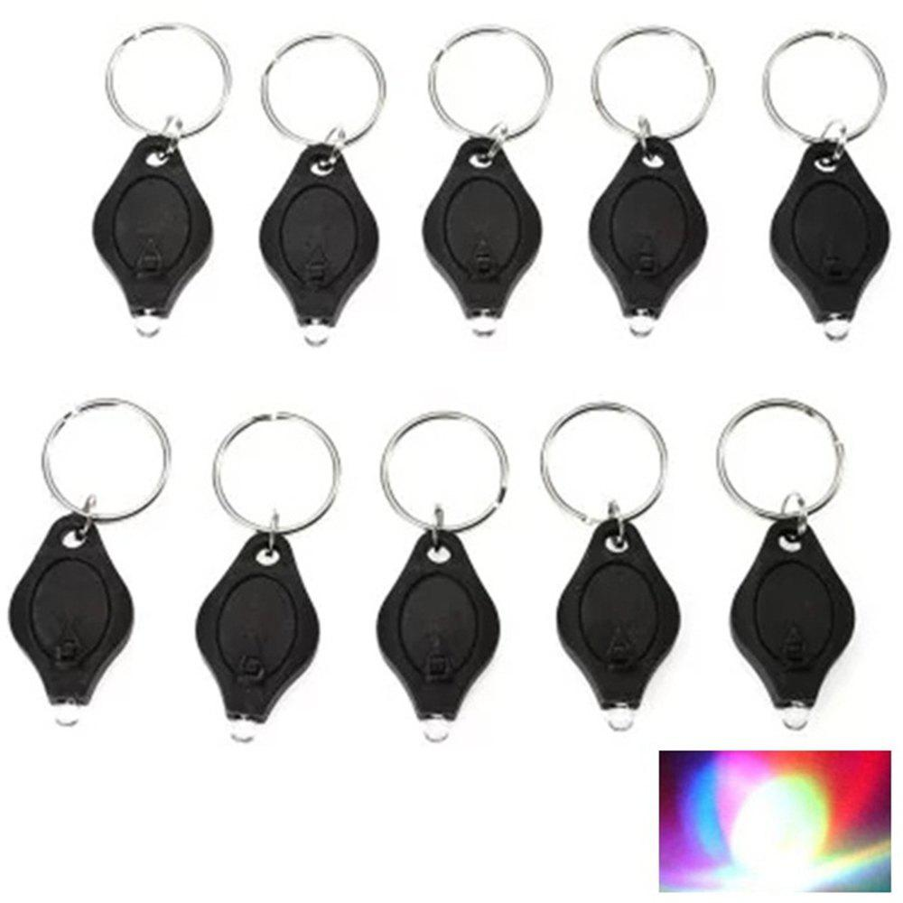 Mini LED Flash Light Keychain Ring Torch Super Bright Colorful Light 10PCS - BLACK