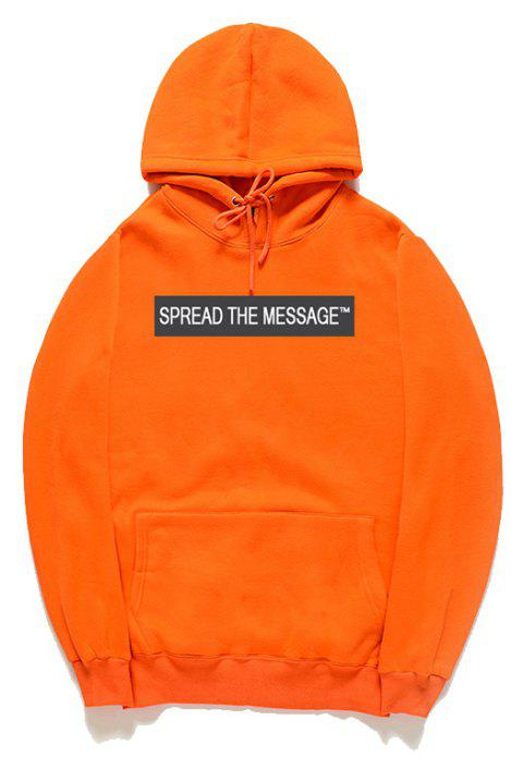 Men'S Letter Printed Hoodie - ORANGE M