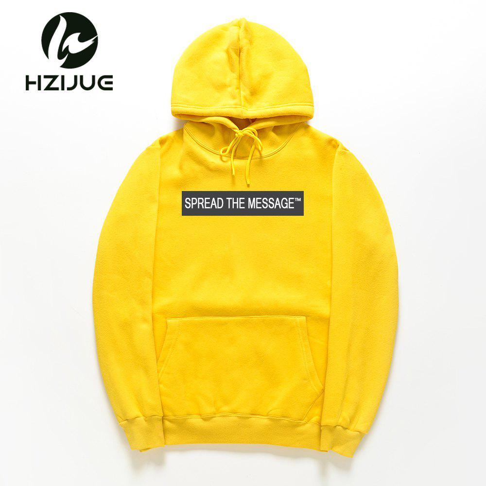 Men'S Letter Printed Hoodie - MAIZE L