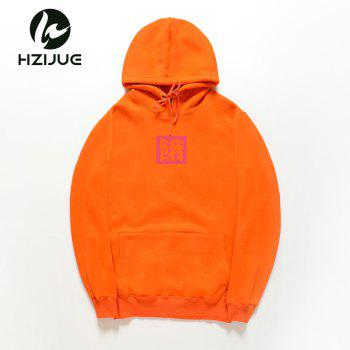 Loose Men'S Print Hoodie - ORANGE ORANGE