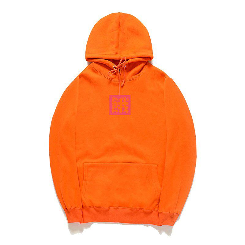 Loose Men'S Print Hoodie - ORANGE M