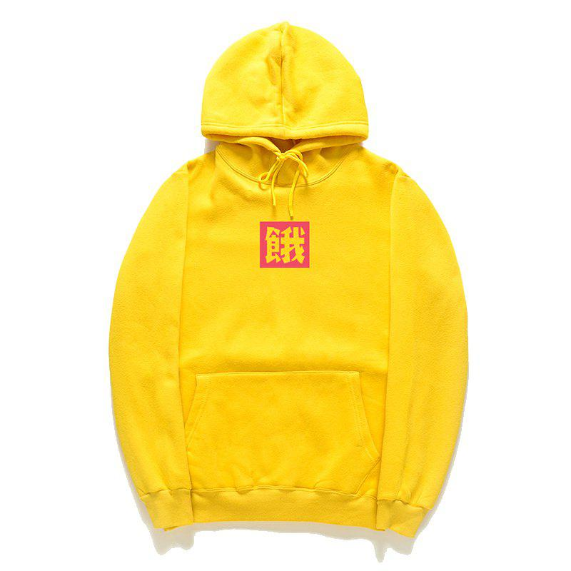 Loose Men'S Print Hoodie - YELLOW M