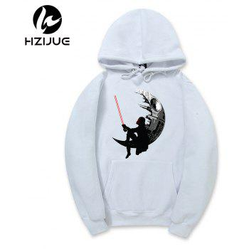Men'S Star Fashion Floral Print Hoodie - WHITE WHITE