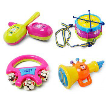 Children early education drum music educational instrument combination 5 joy woolly waist drum hand bell trumpet baby - COLORFUL