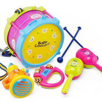 Children early education drum music educational instrument combination 5 joy woolly waist drum hand bell trumpet baby - COLORFUL COLORFUL