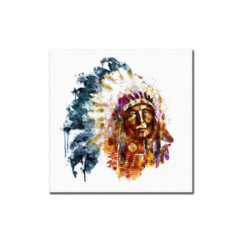 Watercolor Style Restro Canvas Print Framless Home Decoration - COLORFUL 16 X 16 INCH (40CM X 40CM)