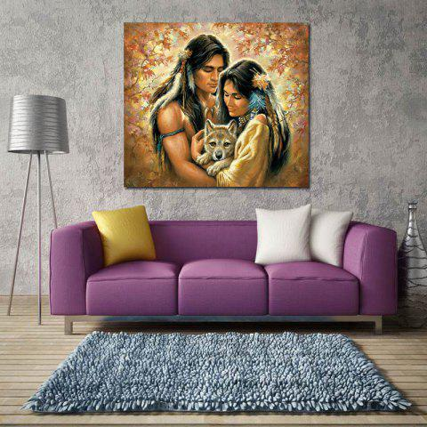 Modern Frameless Canvas Print of American Indian for Home Decoration - COLORFUL 15 X 15 INCH (40CM X 40CM)