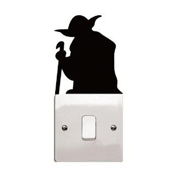 Cartoon Yoda Light Switch Sticker Vinyl Wall Stickers for Kids Room Home Decor - BLACK BLACK
