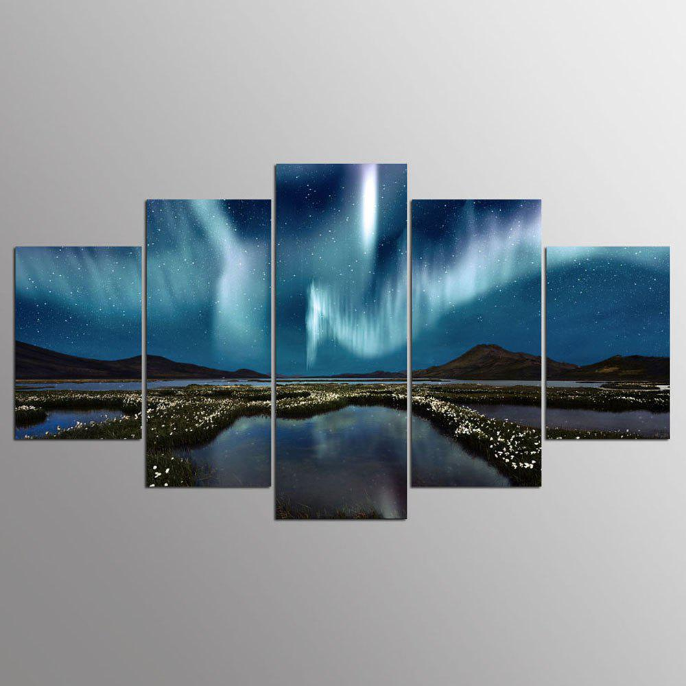 YSDAFEN 5PCS Aurora Borealis Canvas Print Painting Wall Art Picture Living Room Decor - COLORMIX 30X40CMX2+30X60CMX2+30X80CMX1(12X16INCHX2+12X24INC