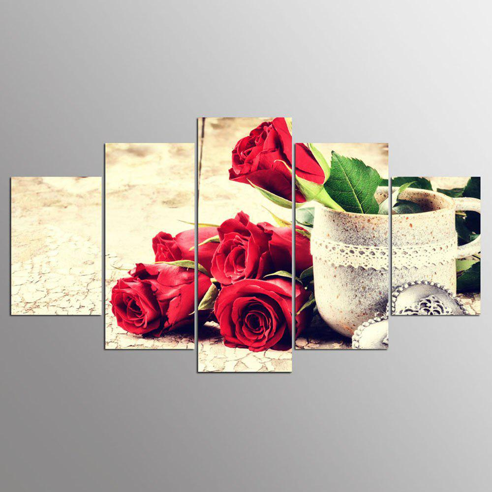 YSDAFEN Bright Rose 5PCS Wall Pictures Large Modern Flower Wall Picture - COLORMIX 30X40CMX2+30X60CMX2+30X80CMX1(12X16INCHX2+12X24INC