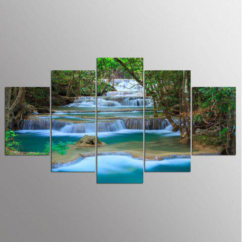 YSDAFEN 5 Panel Modern Prints Forest River Painting Pictures For Living Room - COLORMIX 30X40CMX2+30X60CMX2+30X80CMX1(12X16INCHX2+12X24INC