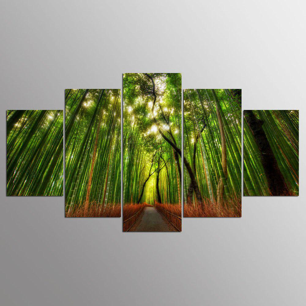 YSDAFEN 5 Panel Canvas Art Printed Forest Bamboo Path Canvas Print Room Decor - COLORMIX 30X40CMX2+30X60CMX2+30X80CMX1(12X16INCHX2+12X24INC
