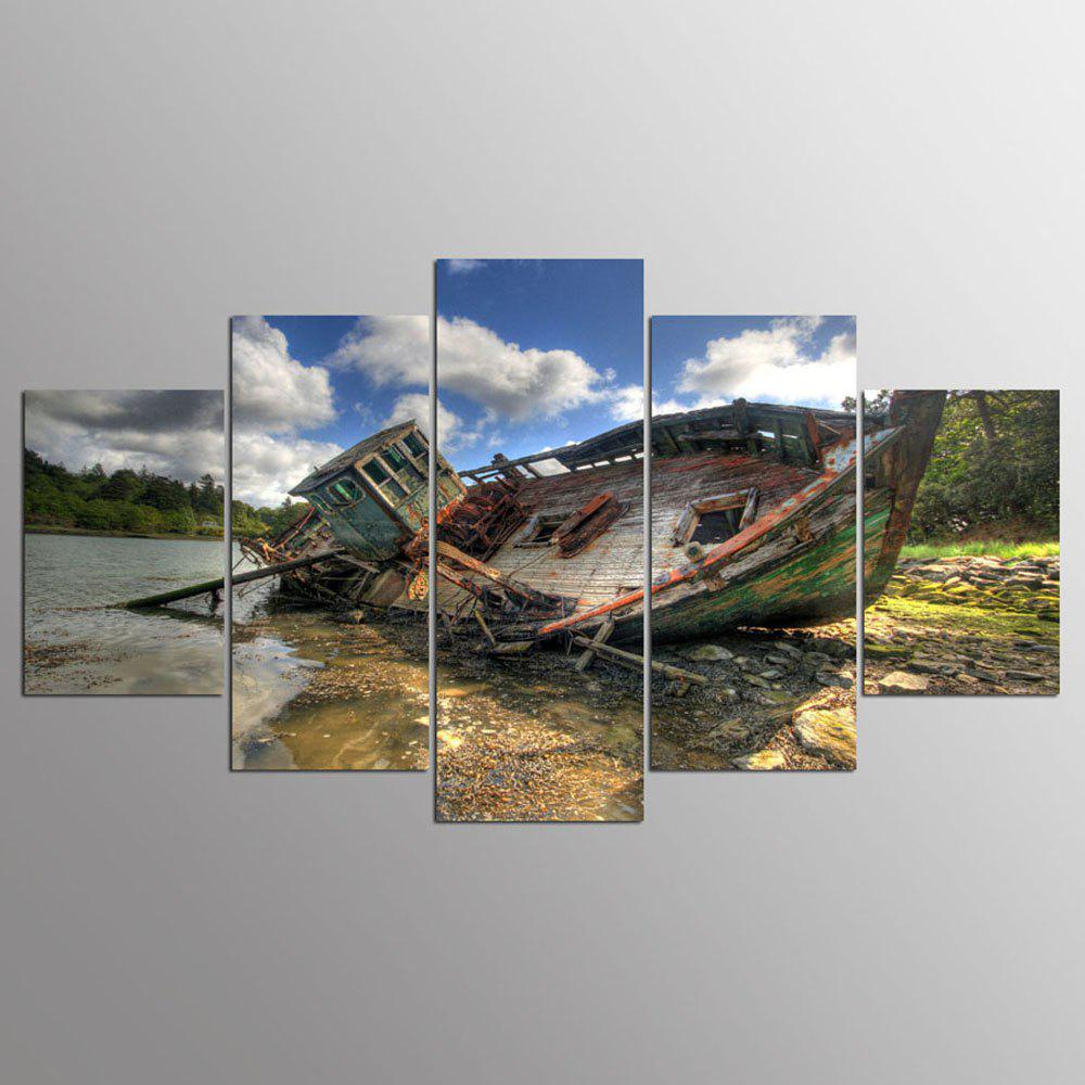 YSDAFEN 5 Panel HD Printed Cool Fishing Boat Canvas Print Room Decor - COLORMIX 30X40CMX2+30X60CMX2+30X80CMX1(12X16INCHX2+12X24INC