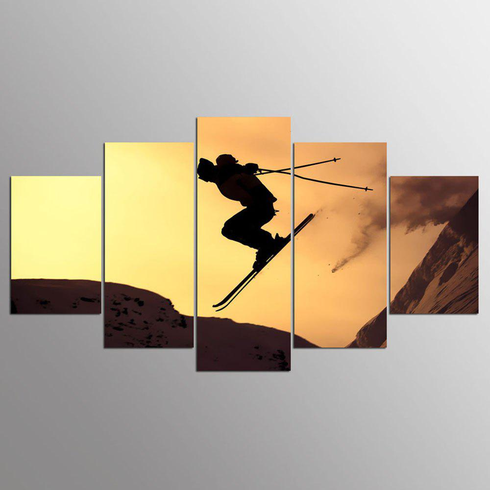 YSDAFEN 5 Panel HD Printed Alpine Skiing Painting on Canvas Room Decoration - COLORMIX 30X40CMX2+30X60CMX2+30X80CMX1(12X16INCHX2+12X24INC